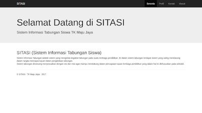 Halaman awal dari sistem informasi tabungan siswa berbasis web dengan php dan mysql