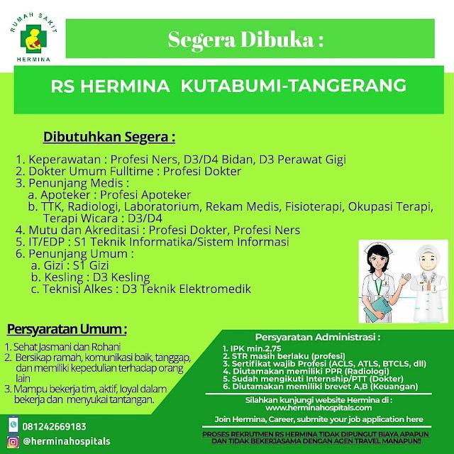 Lowongan Besar Besaran Rs Hermina Kutabumi Tangerang Mei 2020 Serangid