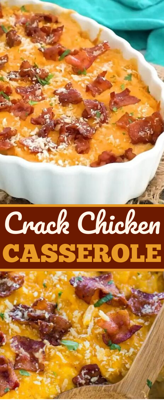 Cheesy Crack Chicken Casserole #dinner #casserole #comfortfood #weeknight #recipes
