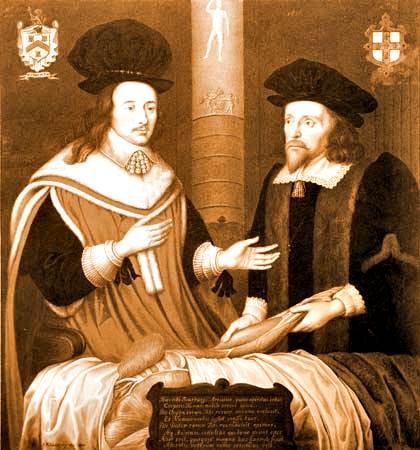 médicos ingleses Charles Scarborough y Edward Arris realizando una autopsia