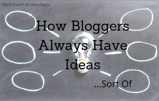 'How Bloggers Always Have Ideas ...Sort Of' with a mindmap on a chalkboard, with a lightbulb in the middle