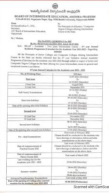 AP Intermediate Course 2nd year Annual Academic Programme (Calendar) for 2021-2022