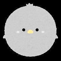 パステルカラーの鳥のイラスト(グレー)