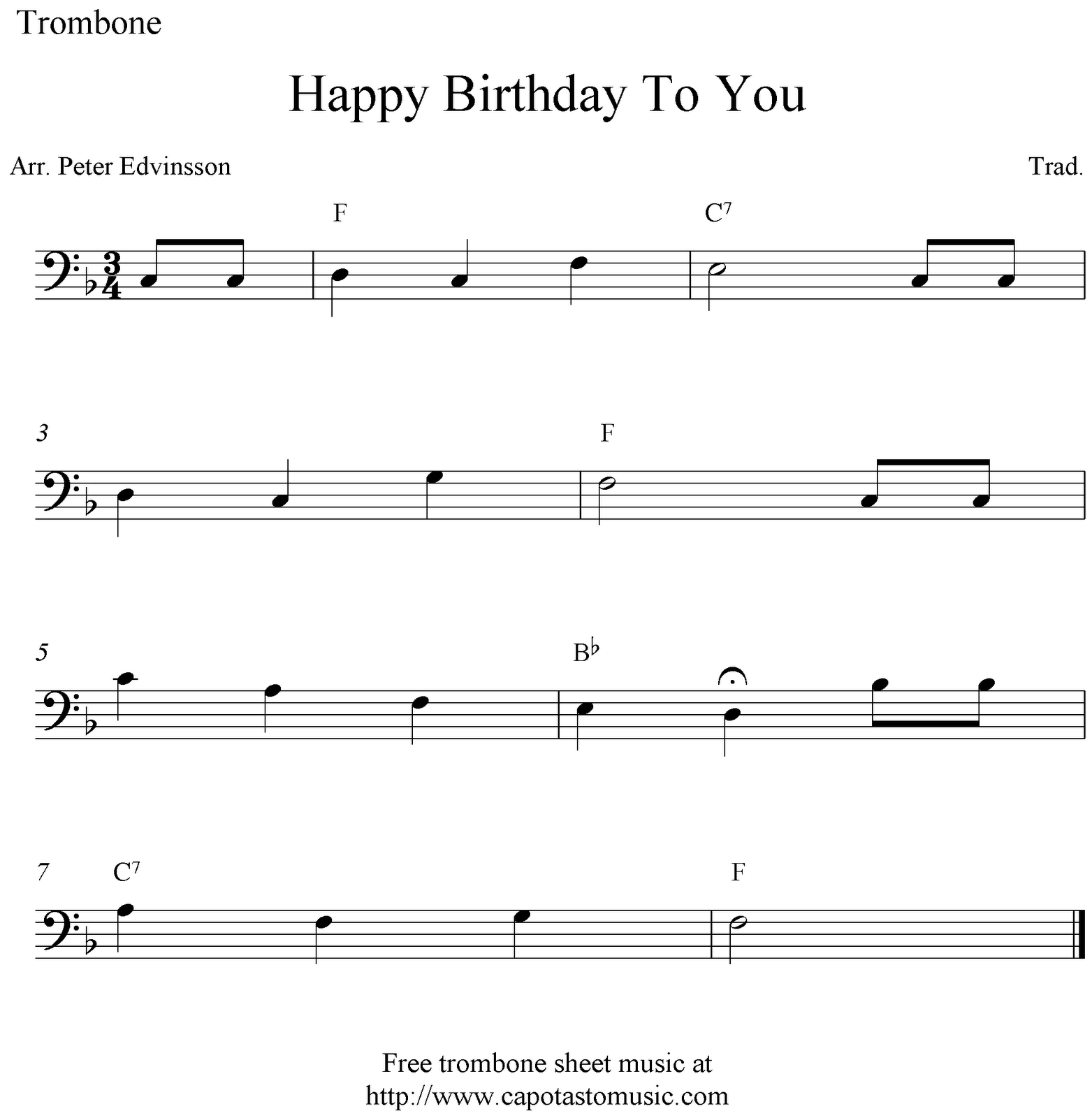 photograph regarding Free Printable Trombone Sheet Music called Delighted Birthday In the direction of Your self, no cost basic trombone sheet new music notes