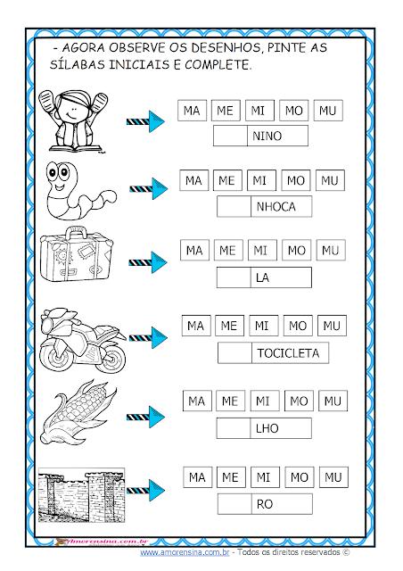 Atividades de alfabetização 1 ano, Família da letra M, Conceitos matemáticos, Alfabetizar com amor, Amorensina,