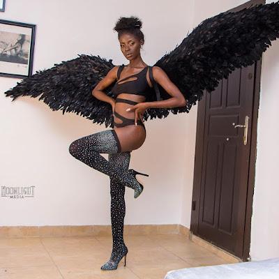 Photos; #BBNaija star Khloe channels Victoria secret Angel for Halloween Bash