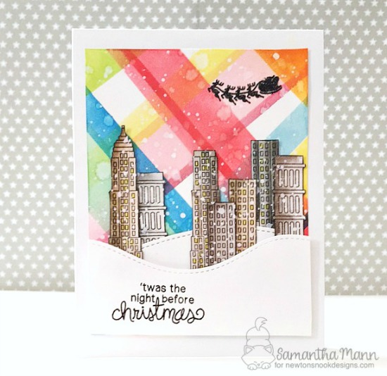 Inky Paws Challenge 37 - Plaid | Plaid skyline card by Samantha Mann | Newton Dreams of New York stamp set by Newton's Nook Designs
