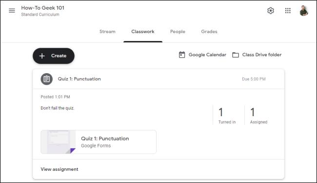 """علامة التبويب """"الواجب الدراسي"""" في """"Google Classroom""""."""