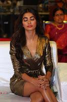 Pooja Hegde looks glamarous in deep neck sleevless short tight golden gown at Duvvada Jagannadham thank you meet function 161.JPG
