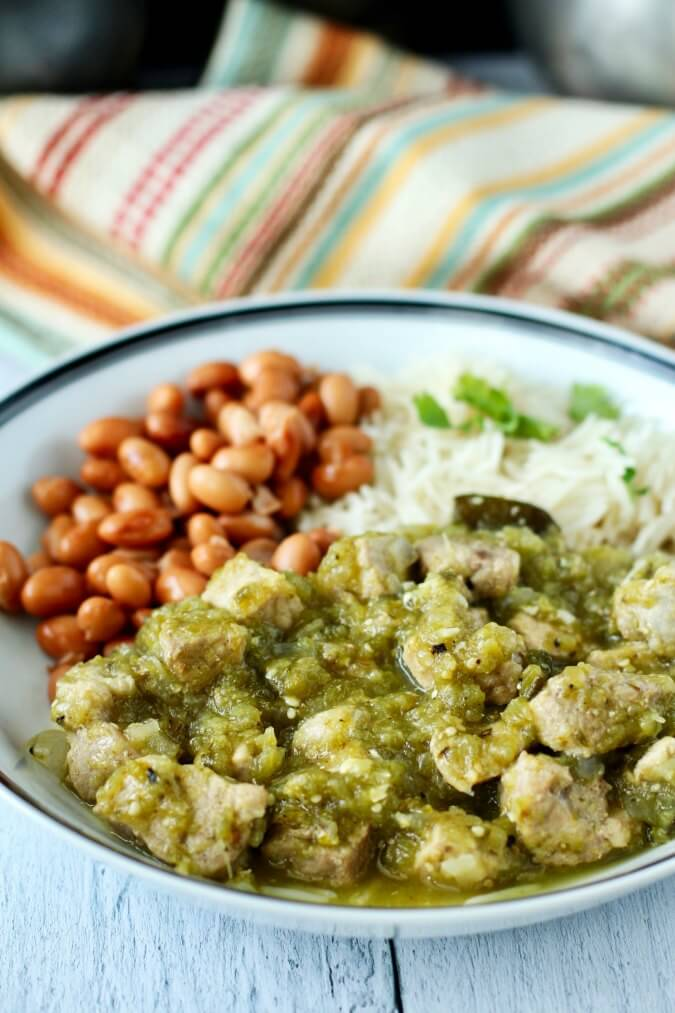 Slow Cooker Chile Verde with Pork and poblanos