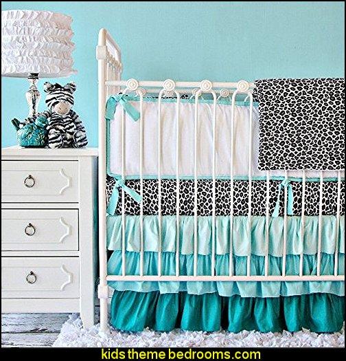 Caden Lane Girly Aqua Leopard  Crib Bedding Set