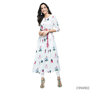 Rayon Solid with Button A-Line Kurtis