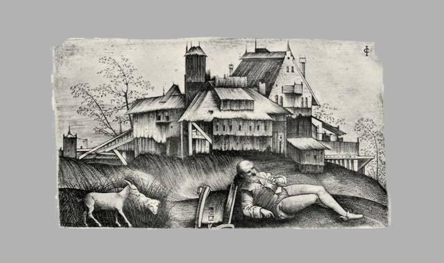 Hirt mit Ziege und Häuser