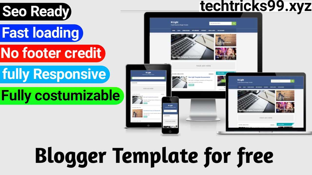 Download Seo Friendly, Fast loading, premium blogger template for free without footer credit