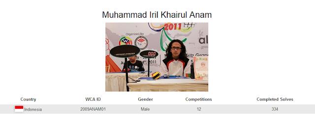 Profile akun WCA dari Muhammad Iril Khairul Anam yang merupakan peringkat ketiga nasional dalam menyelesaikan banyak rubik dengan mata tertutup di Indonesia