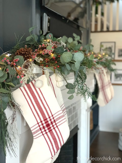 Red white hearth and hand stocking mantel