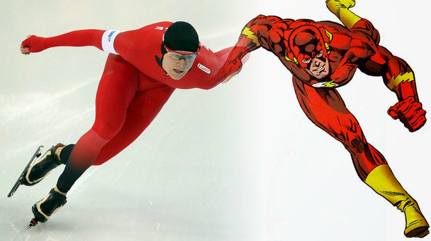 Flash costume speed skater superhero