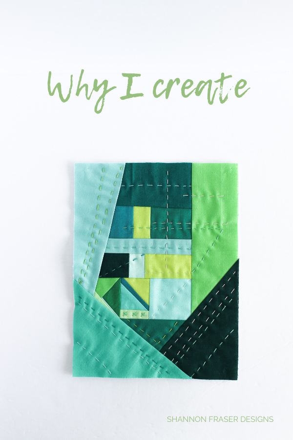 Improv hand quilted mini art quilt | Why I Create | Shannon Fraser Designs