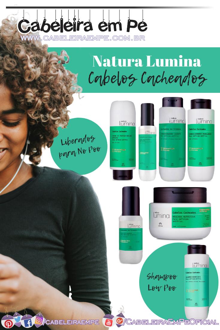 Cacheados Natura Lumina - Shampoo (Low Poo), Condicionador Lavante, Condicionador, Máscara, Creme para Pentear, Spray Umidificador e Óleo Pré Shampoo (No Poo)