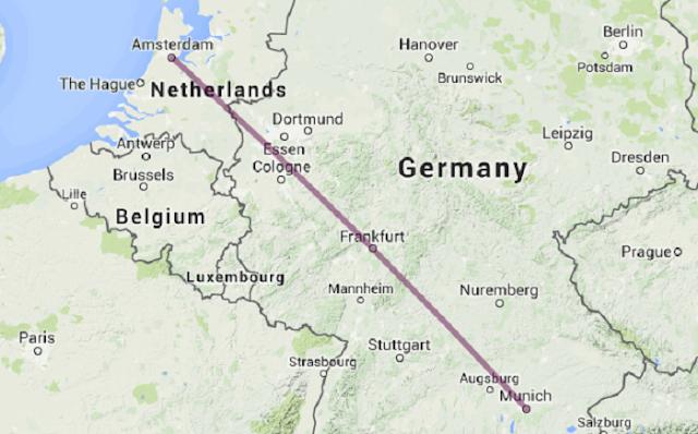 Viagem de Amsterdã até Munique na Europa