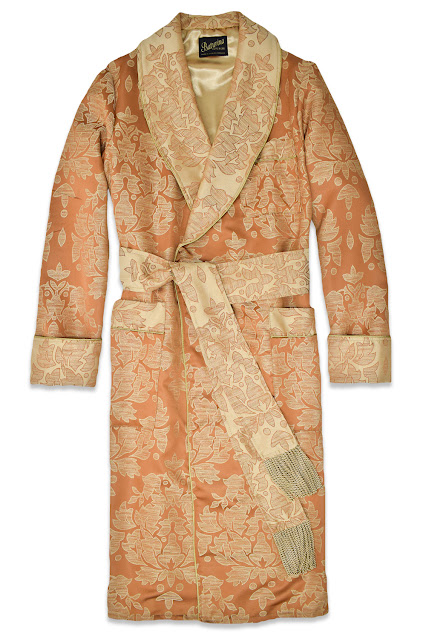 mens floral cotton dressing gown luxury smoking jacket vintage gents housecoat
