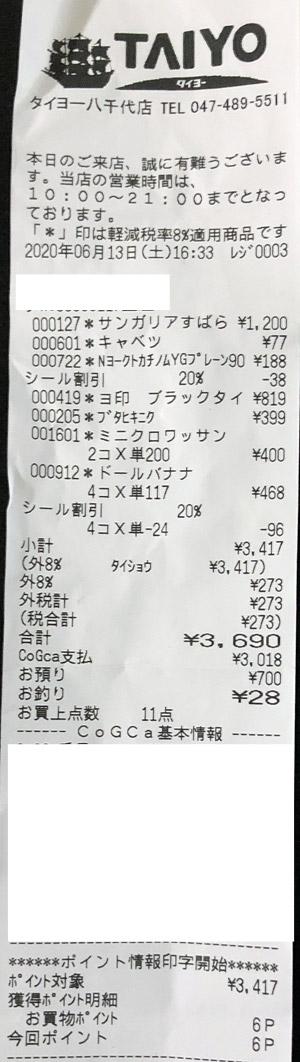 タイヨー 八千代店 2020/6/13 のレシート
