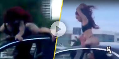 VIDEO: ¡Increíble! Chica realiza TWERKING sobre un auto en movimiento ¡Y se vuelve viral!