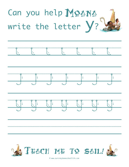 Weekly Free Moana Handwriting Worksheets Release The Letter Y