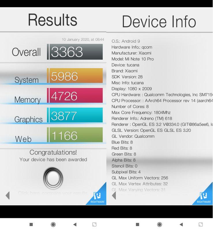 Benchmark Basemark OS II Xiaomi Mi Note 10 Pro