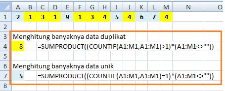 Fungsi COUNTIF Duplikat Dalam Row