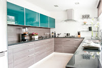 Engaging timeless kitchen style ideas with teal cabinets and wooden dark granite countertops that will inspire you