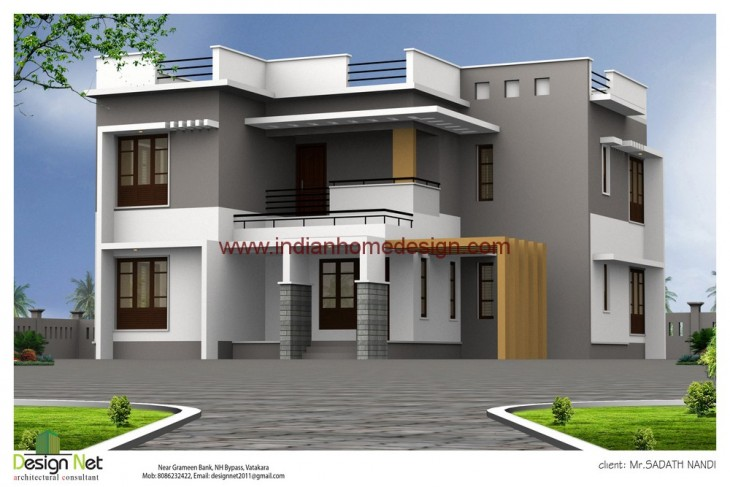 2800 Sq Ft Contemporary Style Indian Home Elevation Design