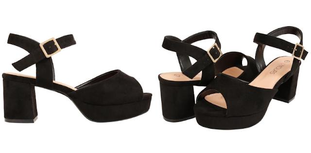 Yours Clothing Wide Fit Black peeptoe platform sandals heels