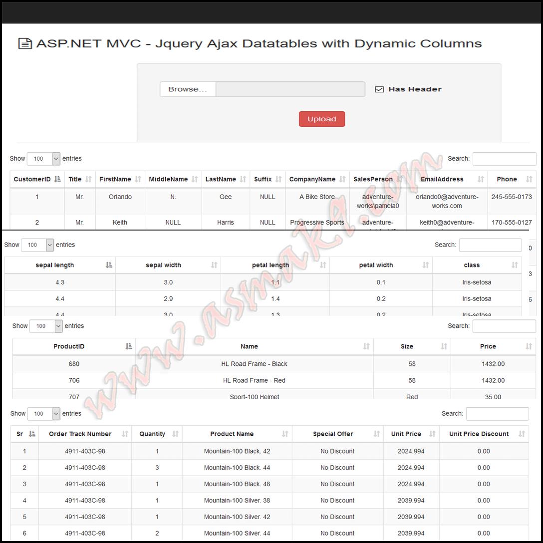 ASP.NET MVC Jquery Ajax Datatables with Dynamic Columns   Asma's Blog