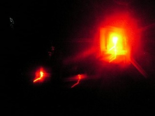 Diffraction of red light in dense smoke