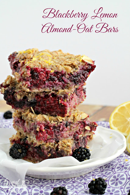 These Blackberry Lemon Almond-Oat Bars are just like your favorite blackberry crisp but in a deliciously plate-free/fork-free form.