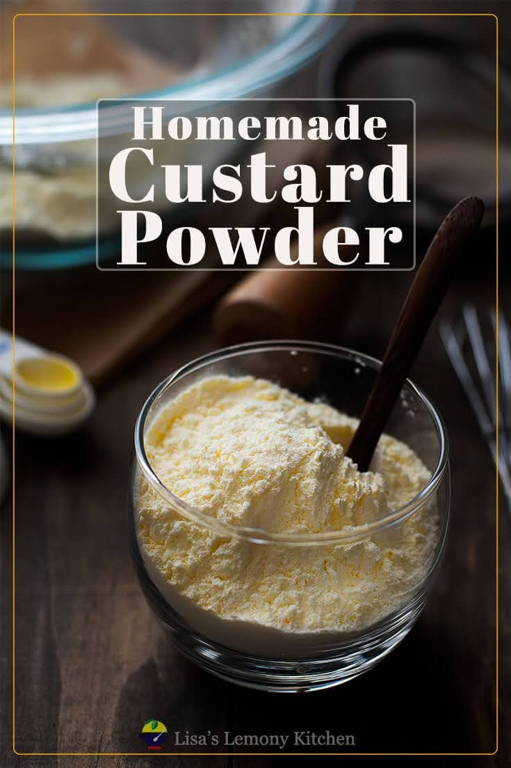 Making homemade custard powder is so easy. With ingredients readily available in the larder: Cornflour, vanilla sugar (or just add vanilla essence when making the sauce) and yellow food colouring, you will have a readily available custard powder.