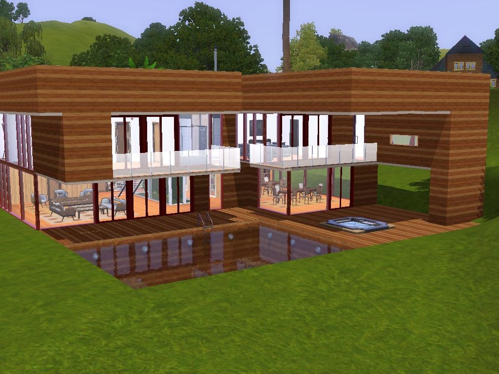 Casas sims 3 casa moderna en la naturaleza for Casa moderna sims 3 sin expansiones
