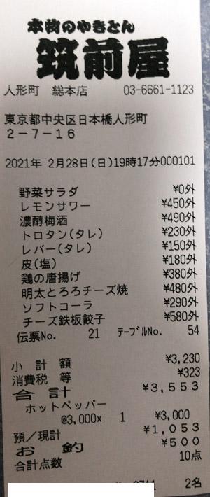 筑前屋 人形町総本店 2021/2/28 飲食のレシート