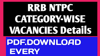 RRB NTPC CATEGORY-WISE VACANCIES DETAILS OF SEVERAL RAILWAY ZONES
