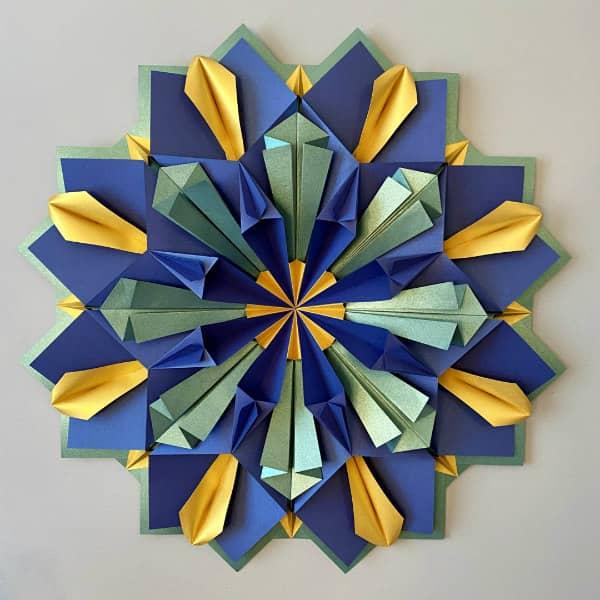 vivid modular origami wall art