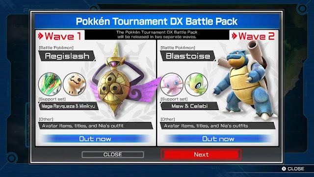 Pokkén Tournament DX Battle Pack waves Aegislash Blastoise Rayquaza Mimikyu Mew Celebi