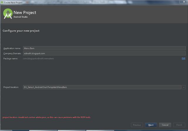 Bekerja dengan Menu Item pada ActionBar - Android Studio