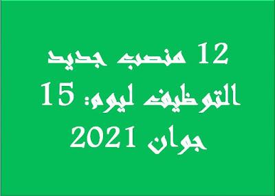 12 منصب هو جديد التوظيف ليوم: 15 جوان 2021