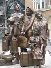 Kindertransport memorial statue at Liverpool Street station, London