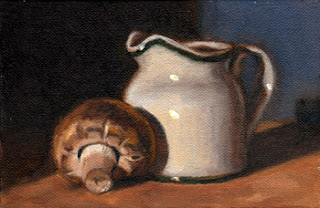 Oil painting of a small porcelain milk jug beside a Swiss Brown mushroom.