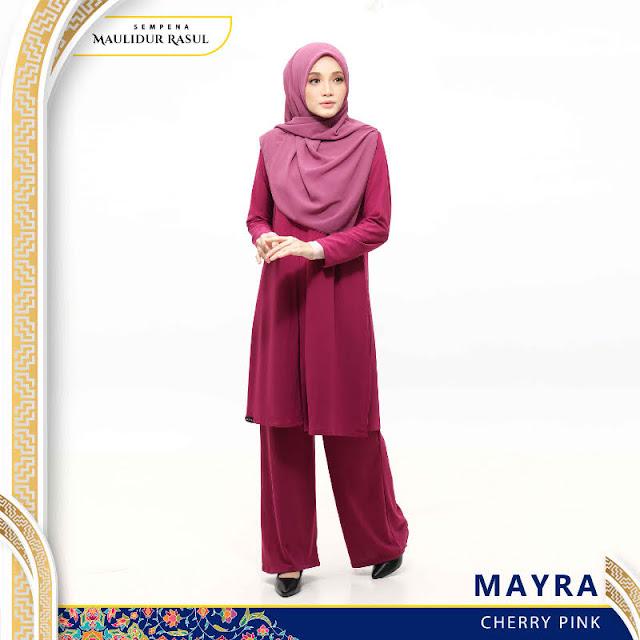 Mayra Jubah Seluar Plain Tanpa Gosok Cherry Pink