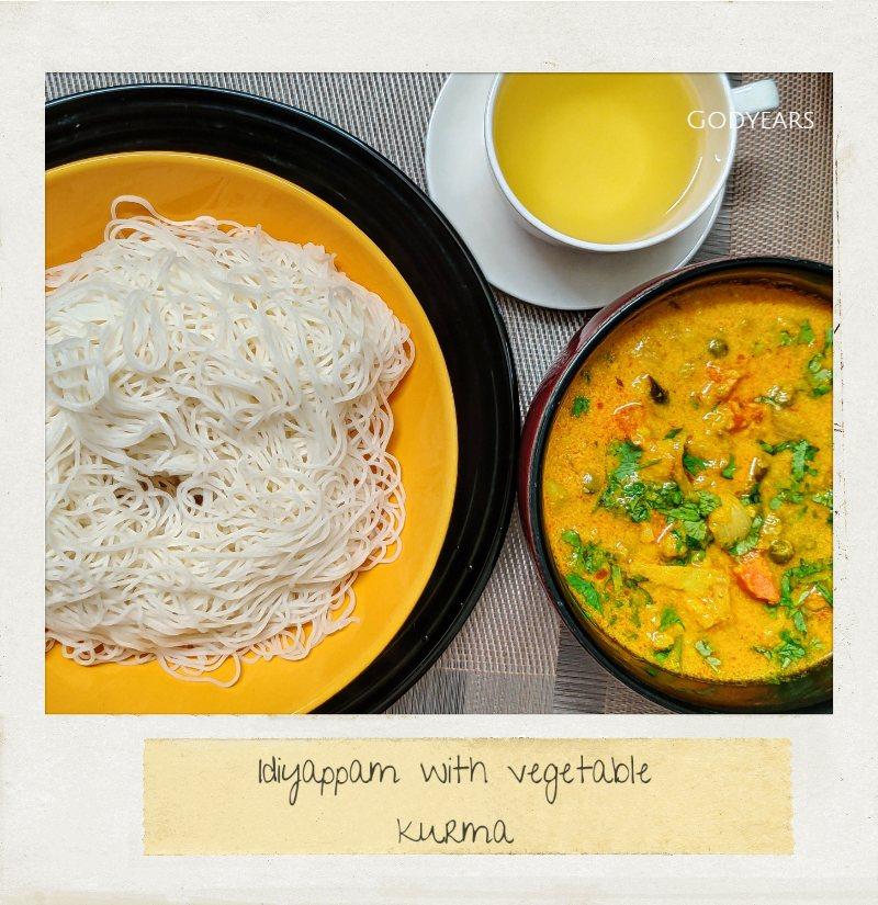 Kerala breakfast - idiyappam and vegetable stew