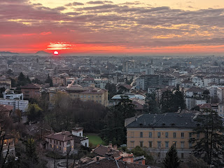 Sunrise over Bergamo lower city.