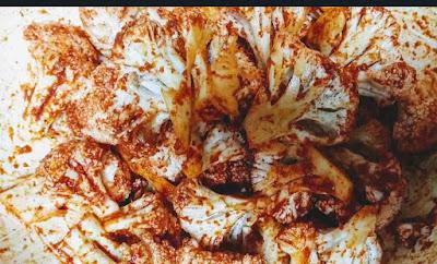 Marinated cauliflower florets for cauliflower Manchurian fried rice recipe